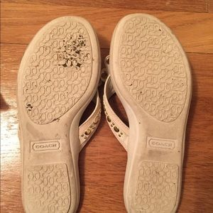 Coach Shoes - Coach cream and gold sandals - Size 6